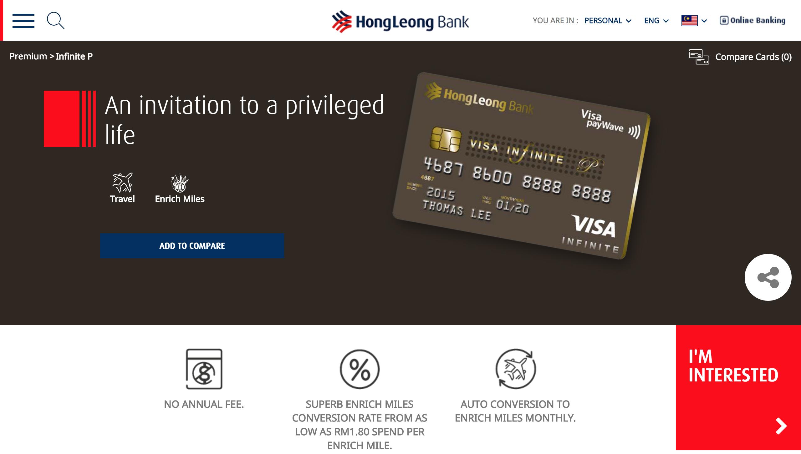Hong Leong Bank Malaysia   Infinite P Credit Card